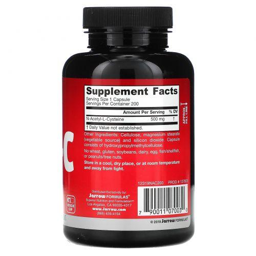 Jarrow Formulas,  N-ацетил-L-цистеин, 500 мг, 200 капсул