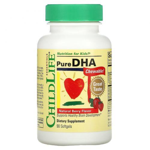 ChildLife, Чистая ДГК, натуральный вкус ягод, 90 жевательные мягкие таблетки