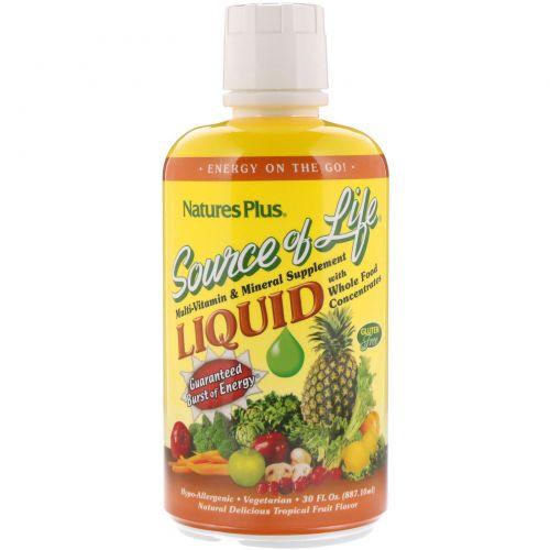 Nature's Plus, Источник жизни, Жидкая добавка с мультивитаминами и минералами со вкусом тропических фруктов, 30 жидких унций (887,1 мл)