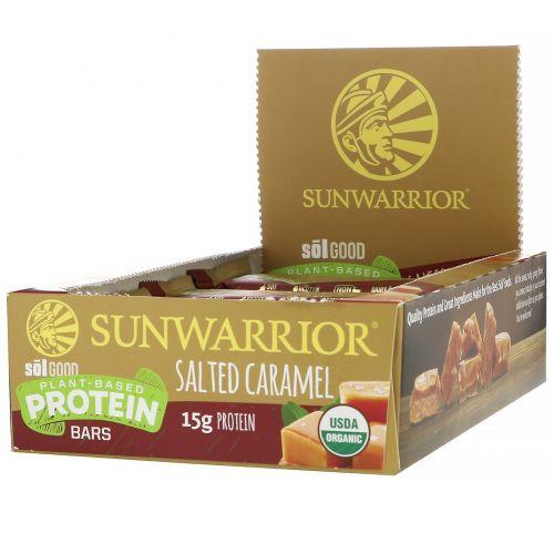 Sunwarrior, Sol Good, протеиновые батончики на растительной основе, соленая карамель, 12батончиков, 58г (2,04унции) каждый