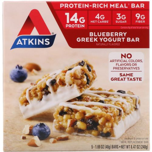 Atkins, Батончик с греческим йогуртом, черника, 5 батончиков, 1.7 унций (48 г) каждый