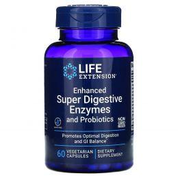 Life Extension, Усиленные энзимы с пробиотиками для отличного пищеварения, 60 вегетарианских капсул