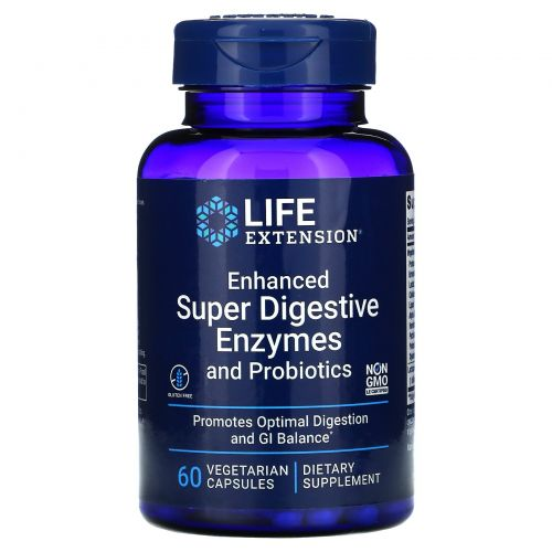 Life Extension, Enhanced Super Digestive Enzymes with Probiotics, 60 Vegetarian Capsules