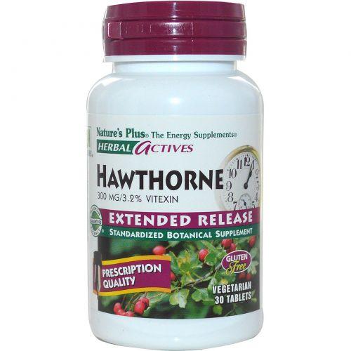 Nature's Plus, Растительная активность, хауторн, замедленное высвобождение, 300 мг, 30 вегетарианских таблеток