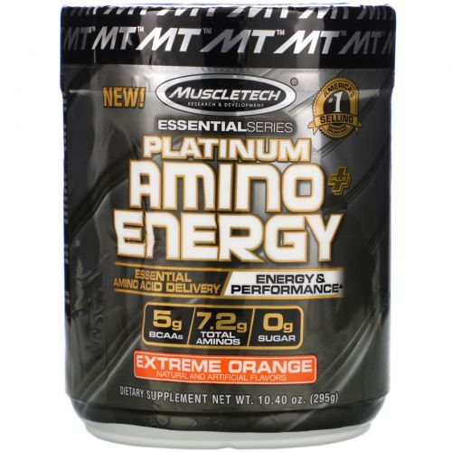 Muscletech, Platinum Amino Plus Energy, Extreme Orange, 10.40 oz (295 g)