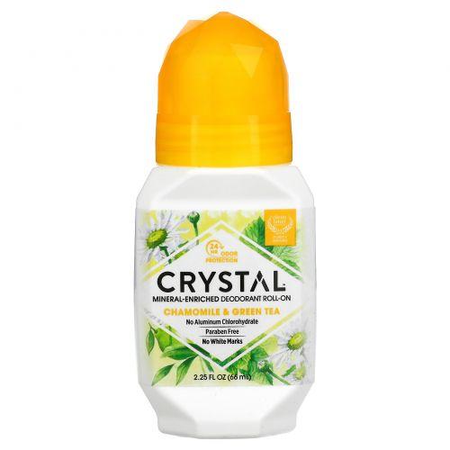 Crystal Body Deodorant, Crystal Essence, Минеральный шариковый дезодорант, ромашка и зеленый чай, 2.25 жидких унций (66 мл)