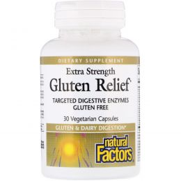 Natural Factors, Extra Strength Gluten Relief, 30 Vegetarian Capsules