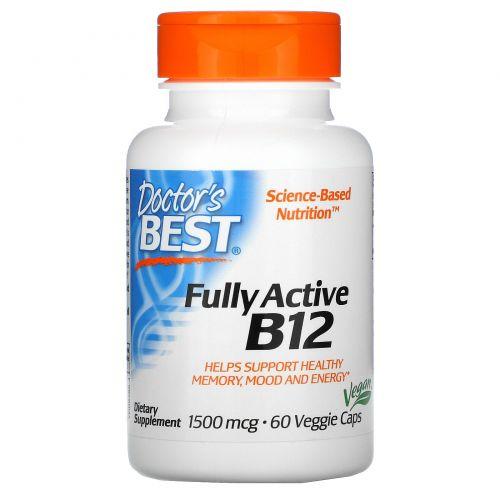 Doctor's Best, Best, Активный витамин B12, 1500 мкг, 60 растительных капсул