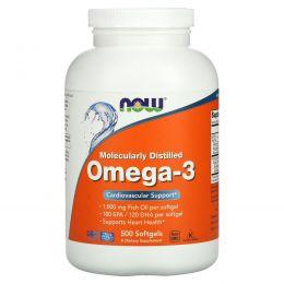 Now Foods, Омега-3, полученный методом молекулярной дистилляции, без холестерина, 500 желатиновых капсул