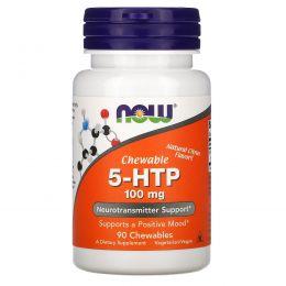 Now Foods, 5-HTP (5-гидрокситриптофан), жевательные таблетки с натуральным цитрусовым вкусом, 100 мг, 90 шт.
