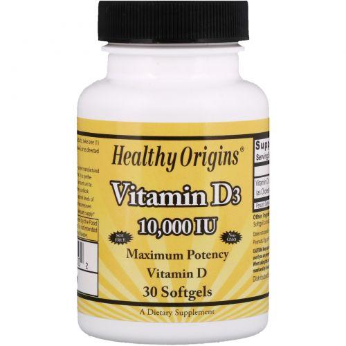 Healthy Origins, Витамин D3, 10 000 международных единиц, 30 желатиновых капсул