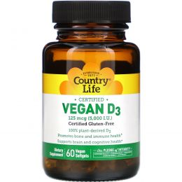 Country Life, Веганский D3, 5000 МЕ, 60 веганских мягких таблеток