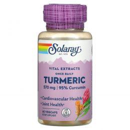 Solaray, Экстракт корня куркумы для приема один раз в день, 600 мг, 60 капсул с оболочкой из ингредиентов растительного происхождения