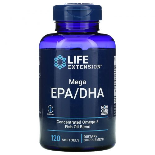 Life Extension, Omega Foundations, Mega EPA/DHA, 120 капсул