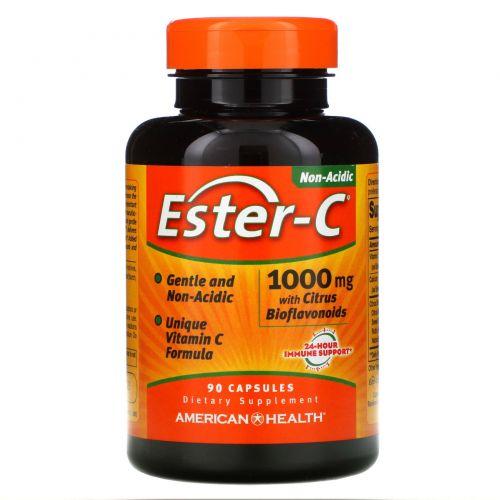 American Health, Ester-C с цитрусовыми биофлавоноидами, 1000 мг, 90 капсул