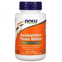 Now Foods, Acidophilus Three Billion, стабилизированный, 180 таблеток