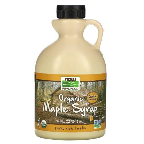 Now Foods, Real Food, Органический кленовый сироп, класс А, средний янтарный, 32 жидкие унций (946 мл)