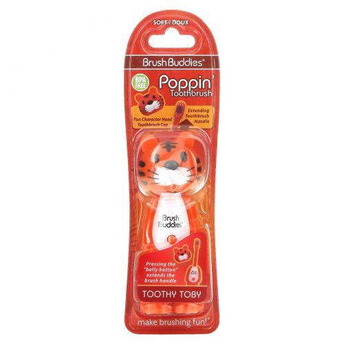 Brush Buddies, Poppin', зубастый тигр Тоби, мягкая, 1 зубная щетка