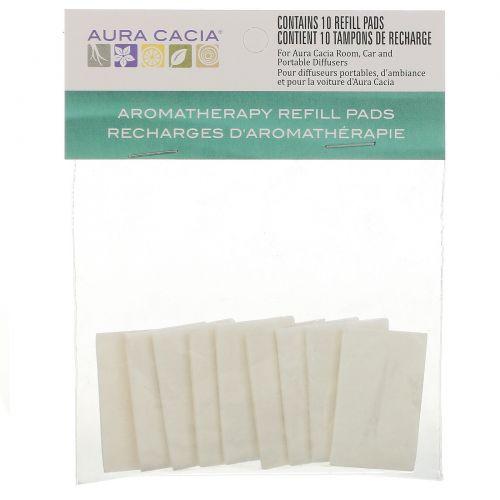 Aura Cacia, Запасная подкладка для ароматерапевтического диффузора, 10 запасных подкладок