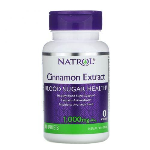 Natrol, Экстракт корицы, 1000 мг, 80 таблеток