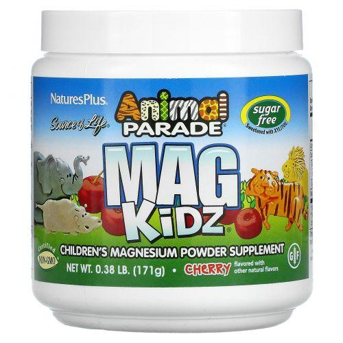 Nature's Plus, Animal Parade, Mag Kidz, Детский Магний, Вкус Натуральной Вишни, 0,32 фунта (144 г)