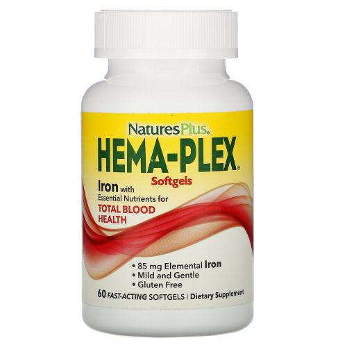 Nature's Plus, Hema-Plex, Iron, 60 Fast-Acting Softgels