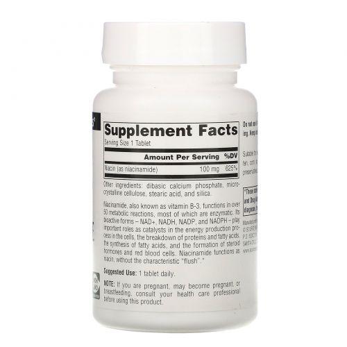 Source Naturals, Никотинамид B-3, 100 мг, 250 таблеток