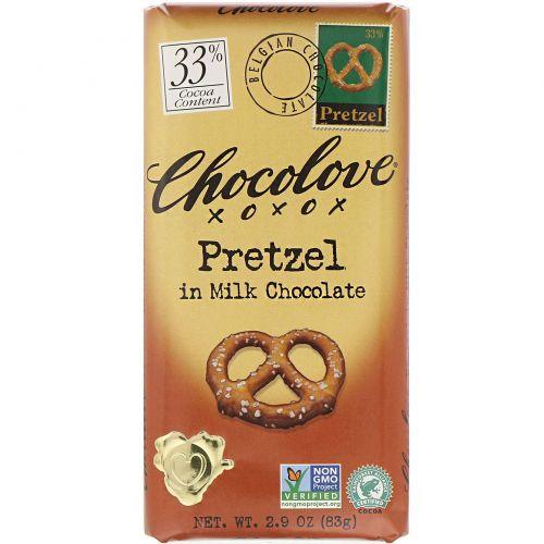 Chocolove, Крендели в молочном шоколаде, 2,9 унции (83 г)