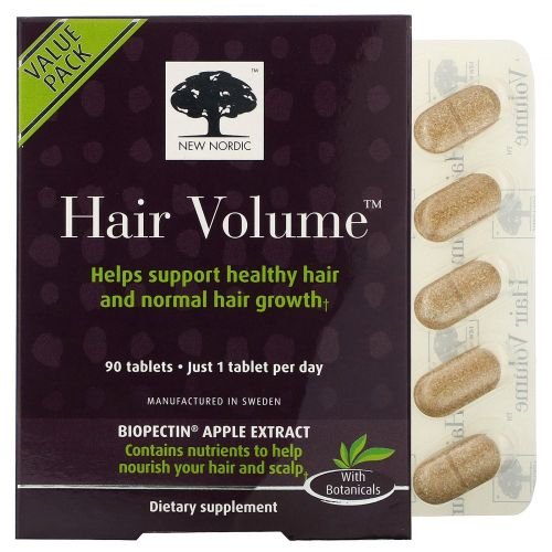New Nordic US Inc, Средство для объема волос с экстрактом яблока, 90 таблеток
