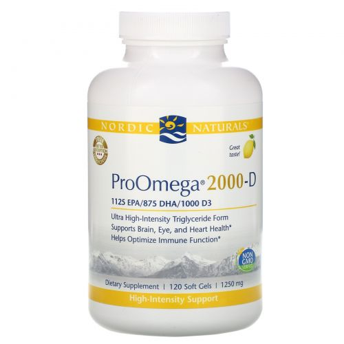 Nordic Naturals, ProOmega-D, Lemon flavor, 1250 mg, 120 Soft gels