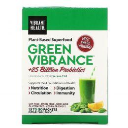 Vibrant Health, Green Vibrance +25 млрд пробиотиков, версия 14.1, 15 пакетов 6,4 унц. (181,5 г)