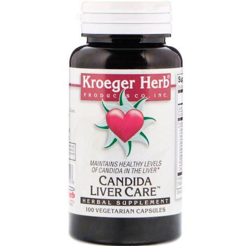 Kroeger Herb Co, Кандида, уход за печенью, 100 вегетарианских капсул