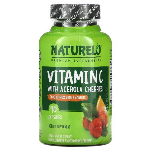 NATURELO, витаминC, экстракт ацеролы с цитрусовыми биофлавоноидами, 90капсул с замедленным высвобождением
