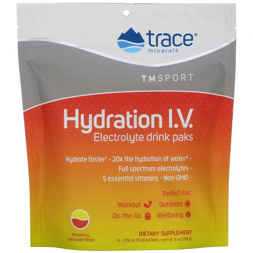 Trace Minerals Research, Hydration I.V., Electrolyte Drink Paks, Raspberry Lemonade Flavor, 16 Packets, 0.56 oz (16 g) Each