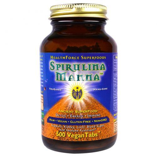HealthForce Nutritionals, Спирулина манна 500 вегетарианских таблеток