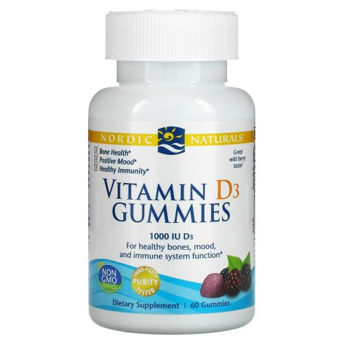 Nordic Naturals, Vitamin D3 Gummies, Wild Berry, 1,000 IU, 60 Gummies