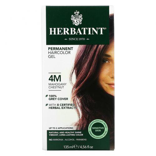 Herbatint, Перманентная краска-гель для волос, 4M, махагоновый каштан, 4,56 жидкой унции (135 мл)