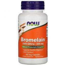 Now Foods, Бромелайн, 500 мг, 60 растительных капсул