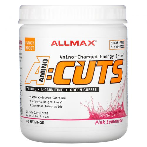 ALLMAX Nutrition, AMINOCUTS, Weight Loss BCAA+EAA, Taurine, CLA, Green Coffee, Pink Lemonade, 7.4 oz (210 g)
