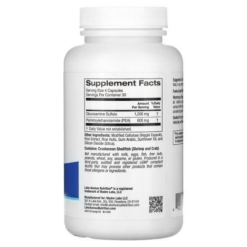 Lake Avenue Nutrition, PEA (Palmitoylethanolamide) + Glucosamine Sulfate, 600 mg + 1,200 mg, 120 Veggie Capsules