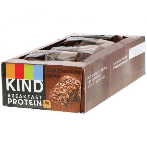 KIND Bars, Протеин для завтрака, темный шоколад, какао, 8 упаковок по 2 батончика, по 1,76 унции (50 г) каждый