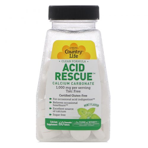 Country Life, Acid Rescue, Calcium Carbonate, Mint Flavor, 1,000 mg, 60 Chewable Tablets