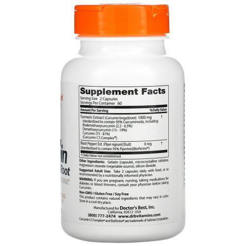 Doctor's Best, Куркумин высокого усвоения, 500 мг, 120 капсул