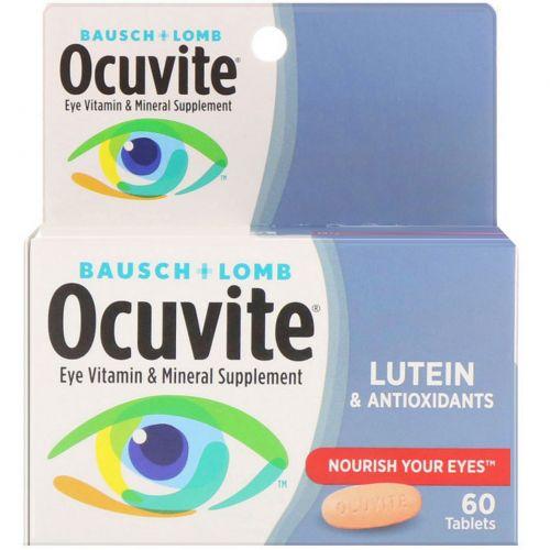 Bausch & Lomb Ocuvite, С лютеином, Витаминная и минеральная добавка для глаз, 60 таблеток
