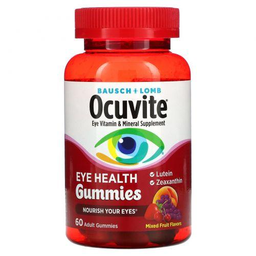 Bausch & Lomb, Желатиновые конфеты для здоровья глаз, смешанные фруктовые вкусы, 60 желатиновых конфет для взрослых