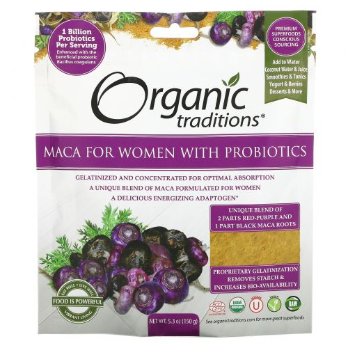 Organic Traditions, Maca For Women with Probiotics, 5.3 oz (150 g)