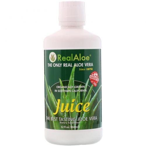 Real Aloe Inc., Сок алоэ вера, 32 жидкие унции (960 мл)