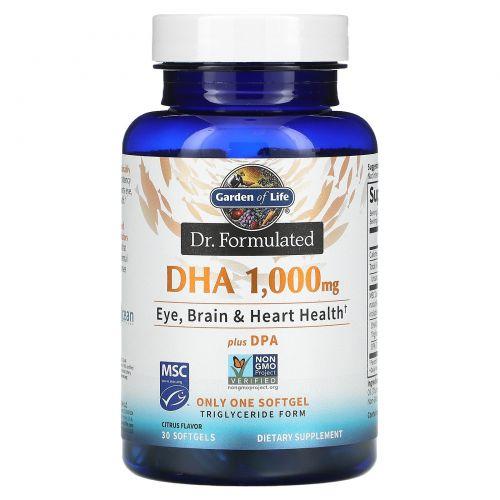 Garden of Life, Dr. Formulated, DHA,  Lemon, 1,000 mg, 30 Softgels