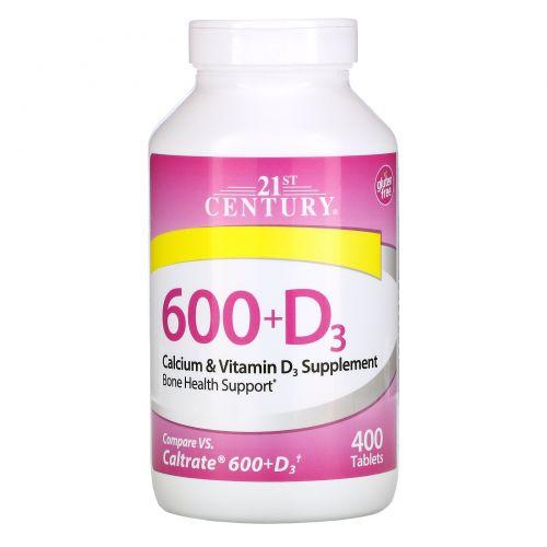 21st Century, 600 + D3, кальций, 400 капсуловидных таблеток