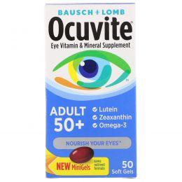 Bausch & Lomb Ocuvite, Витаминная и минеральная добавка для глаз для взрослых от 50 лет, 50 мягких желатиновых капсул